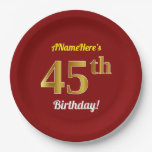 [ Thumbnail: Red, Faux Gold 45th Birthday + Custom Name Paper Plate ]