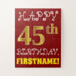 [ Thumbnail: Red, Faux Gold 45th Birthday + Custom Name Puzzle ]