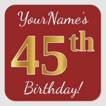 Red, Faux Gold 45th Birthday   Custom Name Sticker
