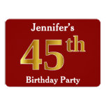 [ Thumbnail: Red, Faux Gold 45th Birthday Party + Custom Name Invitation ]