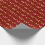 [ Thumbnail: Red, Faux Gold 45th (Forty-Fifth) Event Wrapping Paper ]