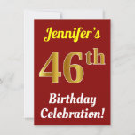 [ Thumbnail: Red, Faux Gold 46th Birthday Celebration + Name Invitation ]
