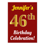 [ Thumbnail: Red, Faux Gold 46th Birthday Celebration + Name Invitation ]