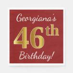 [ Thumbnail: Red, Faux Gold 46th Birthday + Custom Name Napkin ]