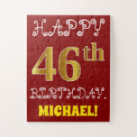 [ Thumbnail: Red, Faux Gold 46th Birthday + Custom Name Puzzle ]