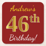 [ Thumbnail: Red, Faux Gold 46th Birthday + Custom Name Paper Coaster ]