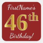 [ Thumbnail: Red, Faux Gold 46th Birthday + Custom Name Sticker ]