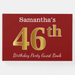 [ Thumbnail: Red, Faux Gold 46th Birthday Party + Custom Name Guest Book ]