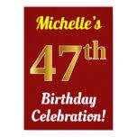 [ Thumbnail: Red, Faux Gold 47th Birthday Celebration + Name Invitation ]