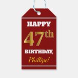 [ Thumbnail: Red, Faux Gold 47th Birthday + Custom Name Gift Tags ]