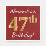 [ Thumbnail: Red, Faux Gold 47th Birthday + Custom Name Napkin ]