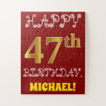 [ Thumbnail: Red, Faux Gold 47th Birthday + Custom Name Puzzle ]