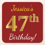 [ Thumbnail: Red, Faux Gold 47th Birthday + Custom Name Paper Coaster ]