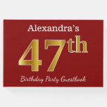 [ Thumbnail: Red, Faux Gold 47th Birthday Party + Custom Name Guest Book ]