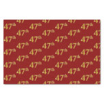 [ Thumbnail: Red, Faux Gold 47th (Forty-Seventh) Event Tissue Paper ]