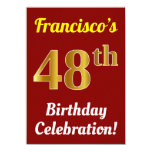 [ Thumbnail: Red, Faux Gold 48th Birthday Celebration + Name Invitation ]