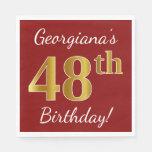 [ Thumbnail: Red, Faux Gold 48th Birthday + Custom Name Napkin ]