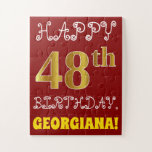 [ Thumbnail: Red, Faux Gold 48th Birthday + Custom Name Puzzle ]