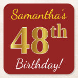 [ Thumbnail: Red, Faux Gold 48th Birthday + Custom Name Paper Coaster ]