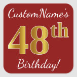 [ Thumbnail: Red, Faux Gold 48th Birthday + Custom Name Sticker ]