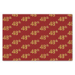 [ Thumbnail: Red, Faux Gold 48th (Forty-Eighth) Event Tissue Paper ]