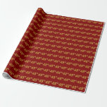 [ Thumbnail: Red, Faux Gold 48th (Forty-Eighth) Event Wrapping Paper ]