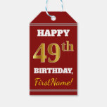 [ Thumbnail: Red, Faux Gold 49th Birthday + Custom Name Gift Tags ]