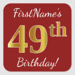 [ Thumbnail: Red, Faux Gold 49th Birthday + Custom Name Sticker ]
