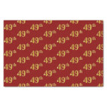 [ Thumbnail: Red, Faux Gold 49th (Forty-Ninth) Event Tissue Paper ]