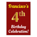 [ Thumbnail: Red, Faux Gold 4th Birthday Celebration + Name Invitation ]
