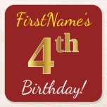 [ Thumbnail: Red, Faux Gold 4th Birthday + Custom Name Paper Coaster ]