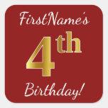 [ Thumbnail: Red, Faux Gold 4th Birthday + Custom Name Sticker ]
