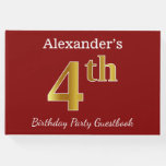 [ Thumbnail: Red, Faux Gold 4th Birthday Party + Custom Name Guest Book ]