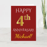 [ Thumbnail: Red, Faux Gold 4th Wedding Anniversary + Name Card ]