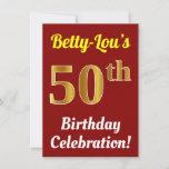[ Thumbnail: Red, Faux Gold 50th Birthday Celebration + Name Invitation ]