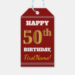 [ Thumbnail: Red, Faux Gold 50th Birthday + Custom Name Gift Tags ]