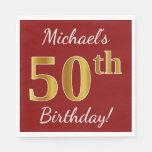 [ Thumbnail: Red, Faux Gold 50th Birthday + Custom Name Napkin ]