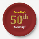 [ Thumbnail: Red, Faux Gold 50th Birthday + Custom Name Paper Plate ]