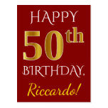 [ Thumbnail: Red, Faux Gold 50th Birthday + Custom Name Postcard ]