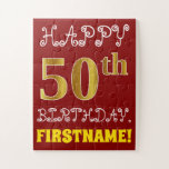 [ Thumbnail: Red, Faux Gold 50th Birthday + Custom Name Puzzle ]