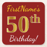 [ Thumbnail: Red, Faux Gold 50th Birthday + Custom Name Paper Coaster ]