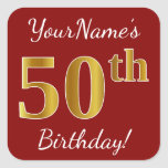[ Thumbnail: Red, Faux Gold 50th Birthday + Custom Name Sticker ]