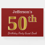 [ Thumbnail: Red, Faux Gold 50th Birthday Party + Custom Name Guest Book ]