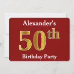 [ Thumbnail: Red, Faux Gold 50th Birthday Party + Custom Name Invitation ]