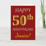 [ Thumbnail: Red, Faux Gold 50th Wedding Anniversary + Name Card ]