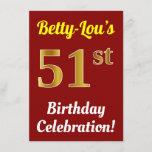 [ Thumbnail: Red, Faux Gold 51st Birthday Celebration + Name Invitation ]