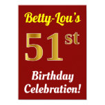 [ Thumbnail: Red, Faux Gold 51st Birthday Celebration + Name Invitation ]