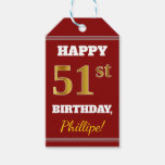 [ Thumbnail: Red, Faux Gold 51st Birthday + Custom Name Gift Tags ]