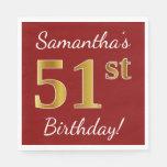 [ Thumbnail: Red, Faux Gold 51st Birthday + Custom Name Napkin ]