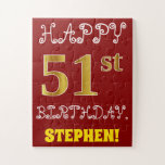 [ Thumbnail: Red, Faux Gold 51st Birthday + Custom Name Puzzle ]
